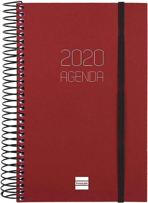 Finocam - Agenda 2020 1 día página Espiral Opaque Burdeos catalán ...