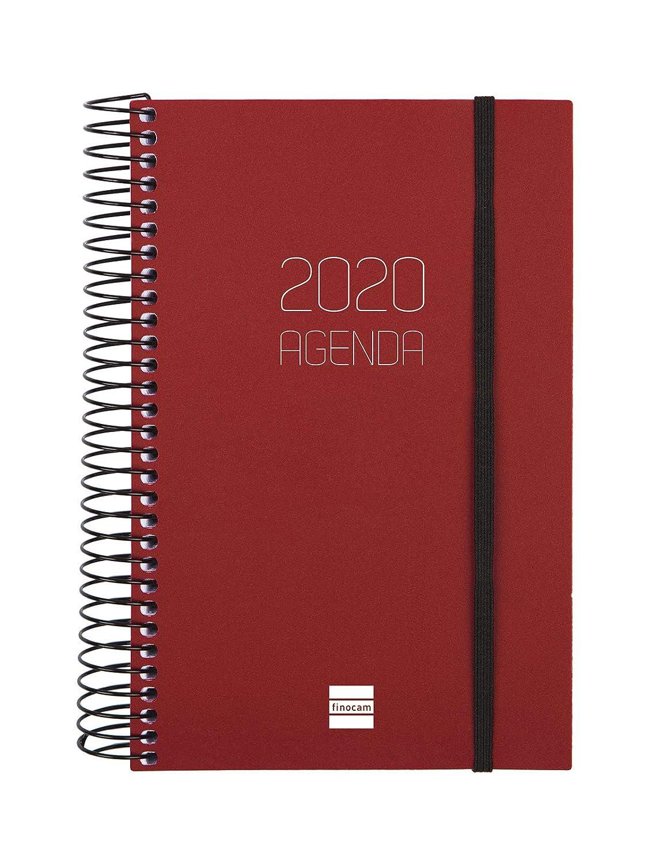 Finocam Agenda 2020 1 d/ía p/ágina Espiral Opaque Burdeos espa/ñol