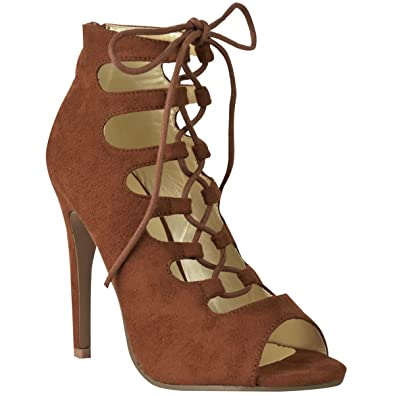 3cf30a768 LADIES WOMENS HIGH HEEL LACE UP GLADIATOR CUT OUT STILETTOS SANDALS SHOES  SIZE [Tan Brown