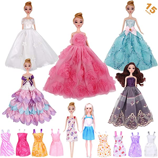 10 Pcs Party Wedding Dresses Clothes Gown For  Dolls Girls Random StyleTE