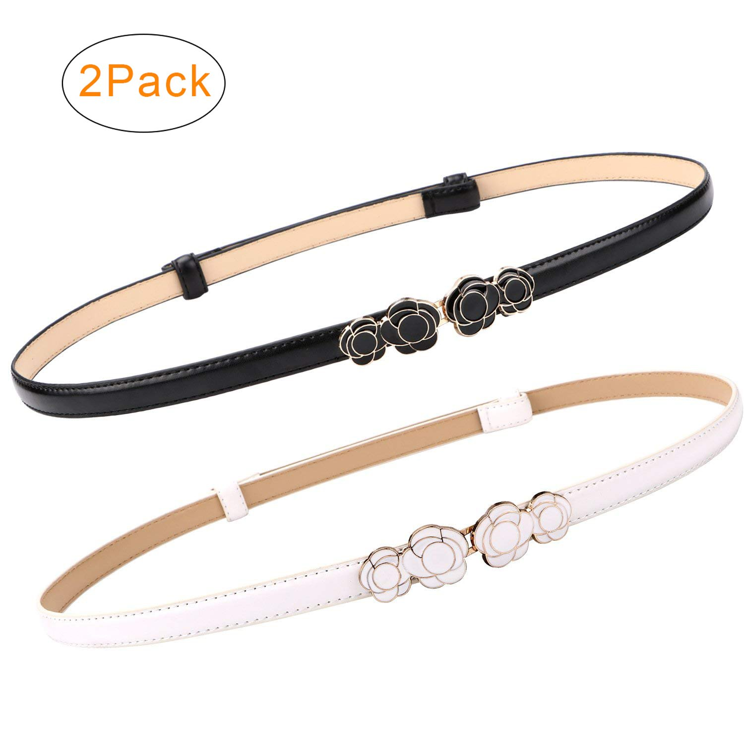 2 Pack Women Skinny Leather Belts Thin Waist Belt for Dresses Fashion Adjustable Black with Interlocking Buckle