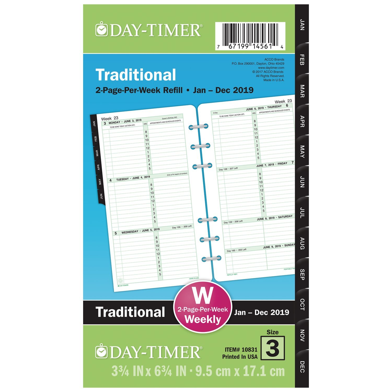 Day-Timer Refill 2019, Two Page Per Week, January 2019 - December 2019, 3-3/4'' x 6-3/4'', Loose Leaf, Portable Size, Original (10831)