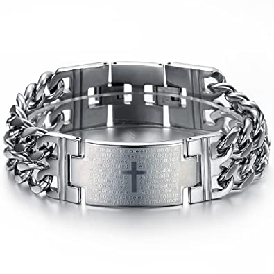 Amazon.com: Ostan Mens Religious Cross Bracelet Link Wrist ...