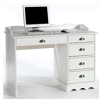 Kinderschreibtisch weiß mit aufsatz  IDIMEX Schreibtisch Bürotisch COLETTE Arbeitstisch mit Aufsatz, Kiefer  massiv, weiß lackiert, Landhausstil
