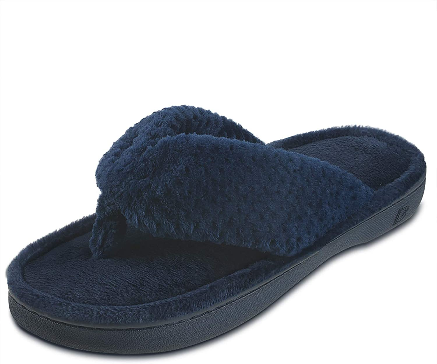 Dena Lives Women's Memory Foam Flip Flop Slippers with Cozy Short Plush Lining,Spa Thong Sandals Mules, Ladies' House Shoes with Indoor Outdoor Anti-Skid Hard Rubber Sole
