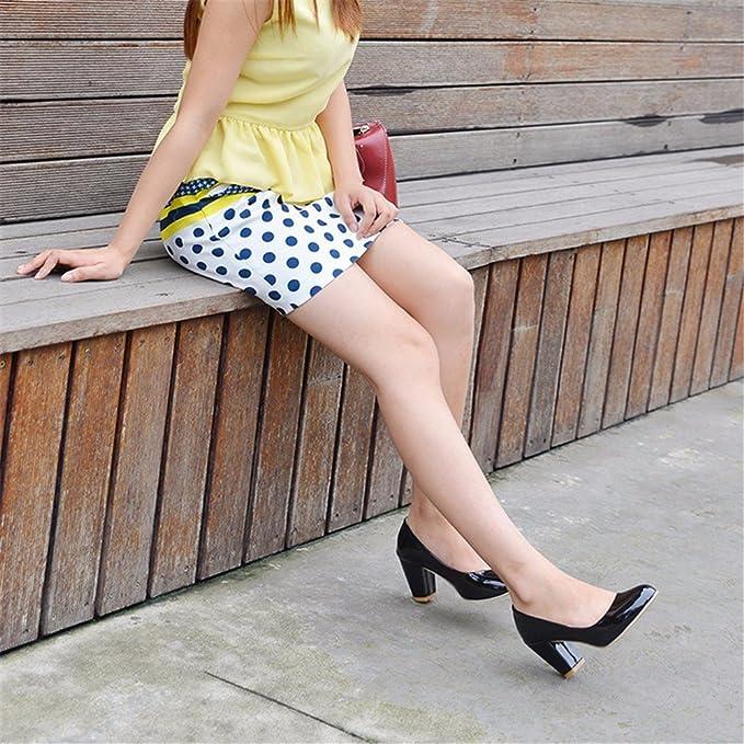 Reine Farbe Größe, Schuh, Lack, hochhackige Schuhe, Schuhe und Veranstaltungsräume Frauen, schwarz, 47
