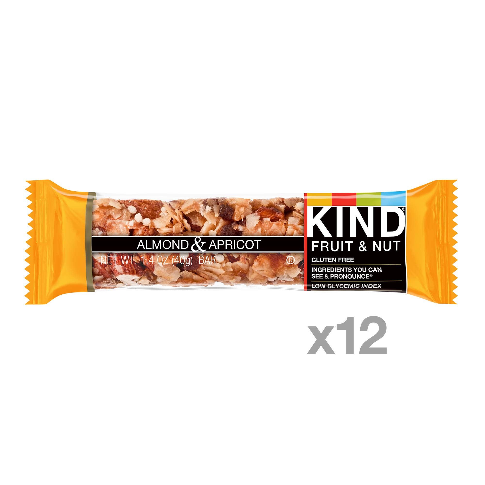 KIND Bars, Almond & Apricot, Gluten Free, Low Sugar, 1.4oz, 12 Count by KIND (Image #2)