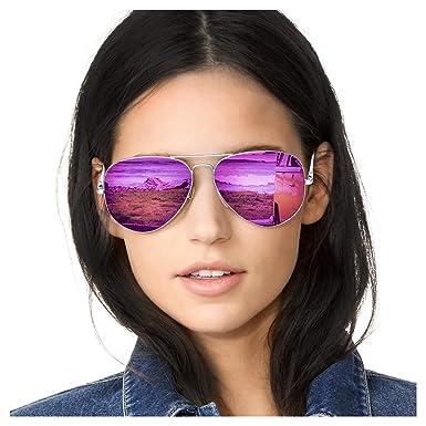SODQW Gafas de Sol Mujer Aviador Espejo Polarizadas de Metal Marco 100% UVA/UVB Protección