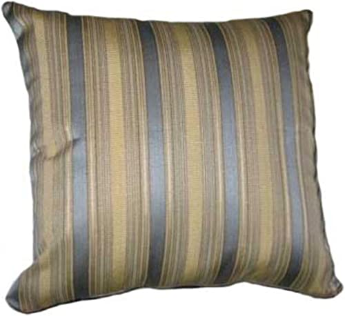 32×32 Teal Blue and Gold Stripes Brocade Decorative Throw Pillow Cover
