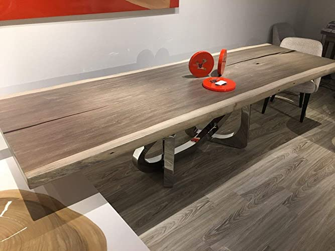 EM Soberon Wood Dining Table   Momento Collection   Wood And Resin Dining  Table With Natural