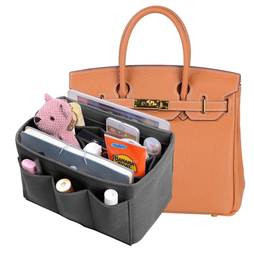 Felt Insert Purse Organizer, New Design Bag Organizer With Sewn Bottom Insert, Bag In Bag Organizer For Hermes Birkin 35 (Washed Light Grey)