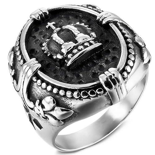 MunkiMix Acero Inoxidable Anillo Ring Plata Tono Negro Celta Celtic Medieval Cruzar Cruz La Flor De lis Hombre