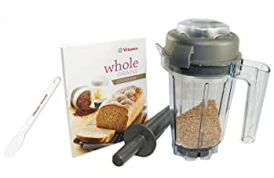 Vitamix 32-Ounce Dry Grains Container with Tamper, Spatula, Lid, Cookbook and Blades Included (Container with Tamper and Spatula)
