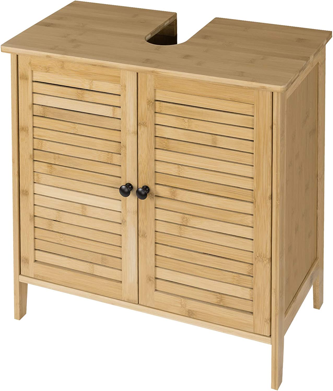 EUGAD Mueble de Baño Armario Bajo Lavabo Mueble para Debajo de Lavabo Mueble Lavabo de Baño Almacenamiento con 2 Puertas Bambú 60 x 30 x 60 cm 0017WY