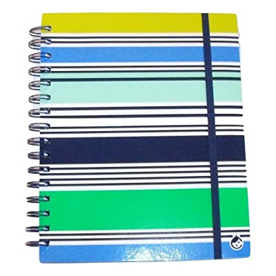 Studio C Carolina Pad in The Navy Collection College Ruled 3-Subject Ideal Book with Elastic Closure (Shades of Greens and Blue Stripes, 6.5 Inches x 8.75 Inches, 120 Sheets, 240 Pages): Toys & Games