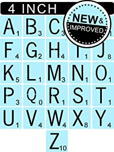 Scrabble Style Letters Stencils for Painting Signs, 4 Inch Plastic, Reusable, Family Names