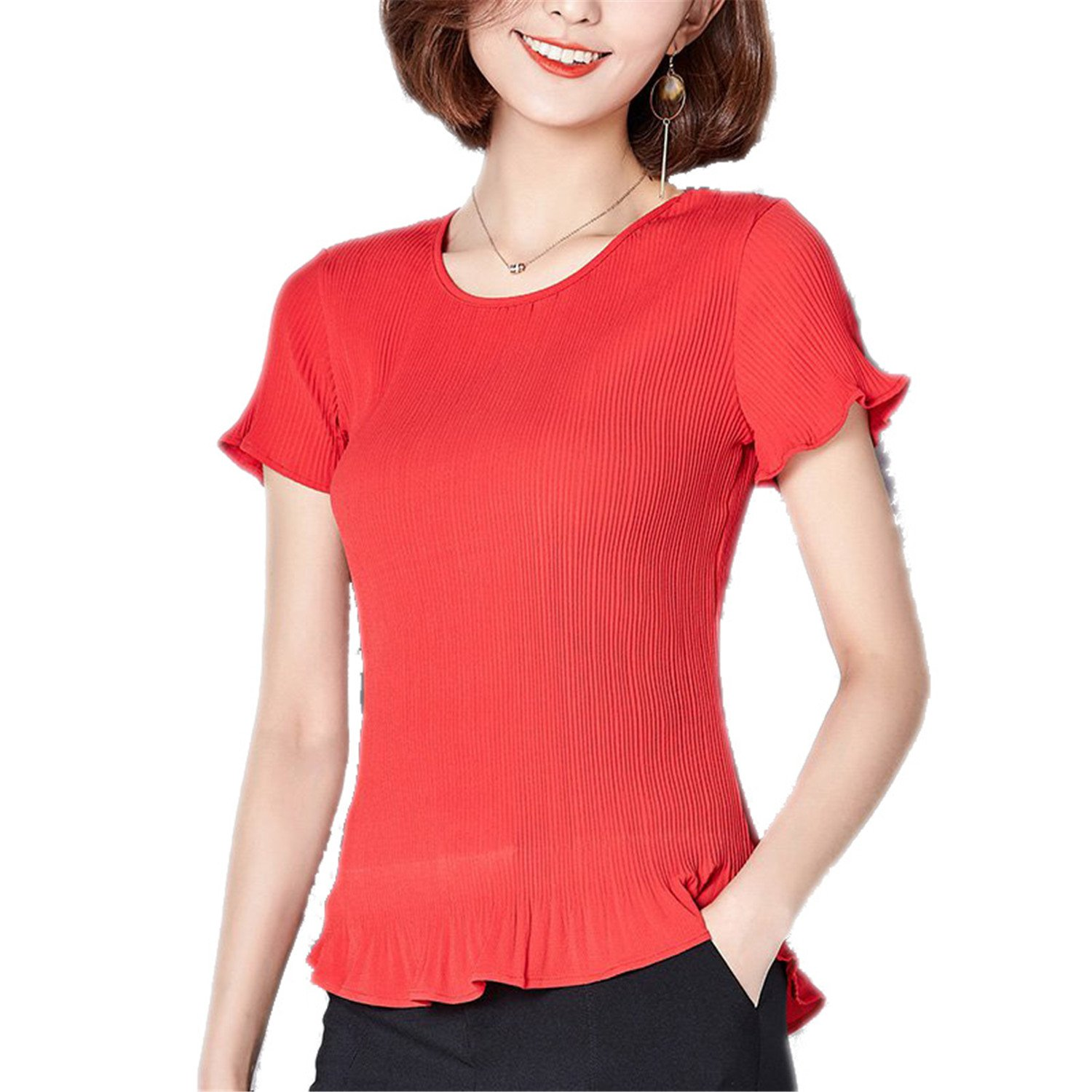 OUXIANGJU Summer Women Tops Pleated Polka Dot Shirts O-Neck Short Sleeve Chiffon Blouses Big Sizes at Amazon Womens Clothing store: