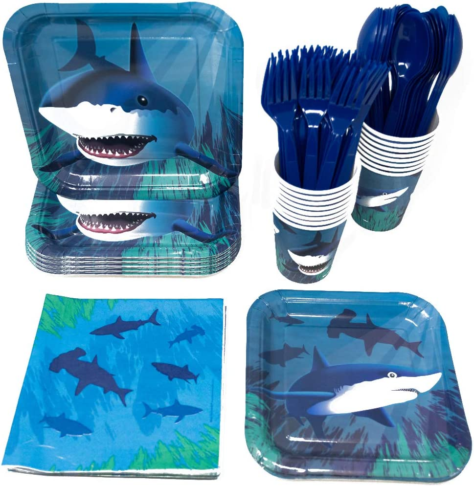Shark Party Supplies Packs (113+ Pieces for 16 Guests!), Shark Tableware, Shark Party Supplies