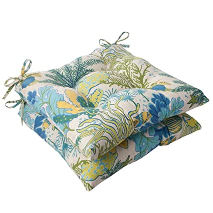 Merveilleux Set Of 2 Nautical Ocean Splash Outdoor Patio Tufted Seat Cushions