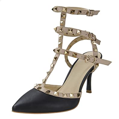 Women s Studded Patent Leather Contrast Stilettos High Heel Pointed Toe  Buckle Sandals 6dc936add927