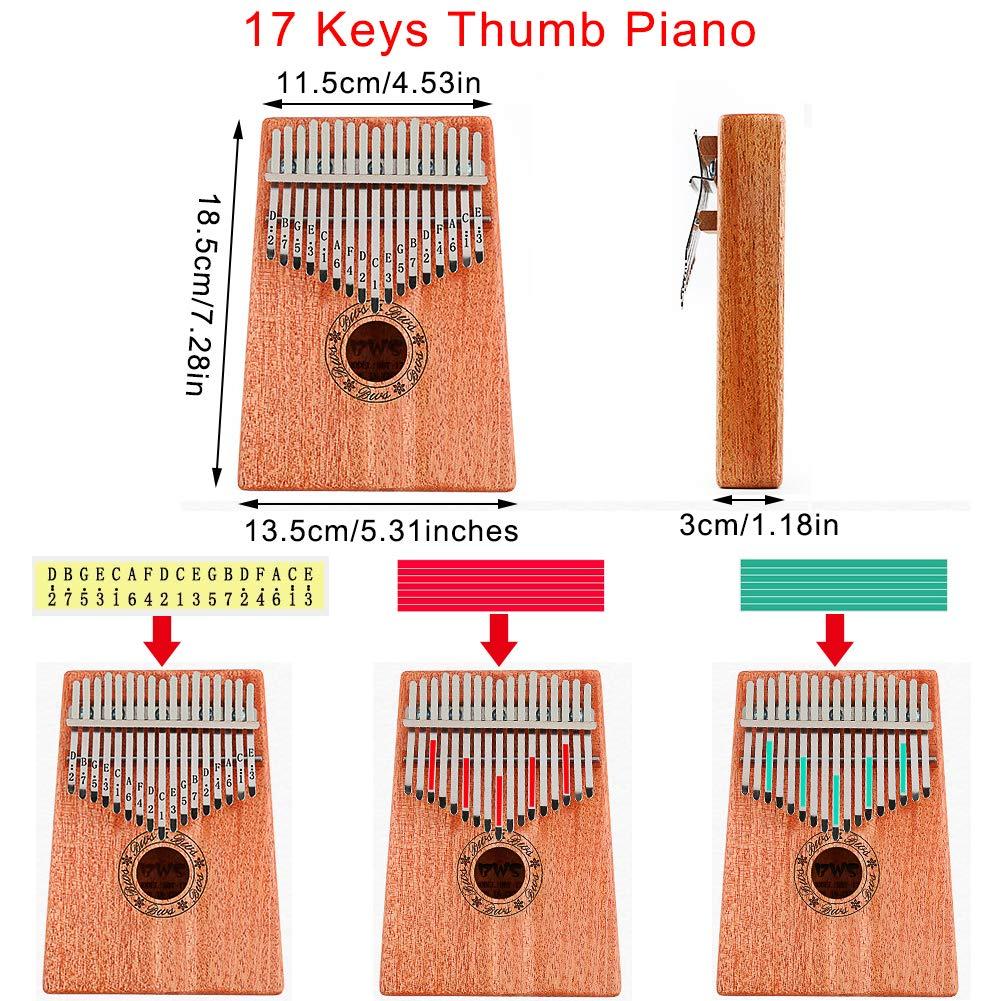Kalimba 17 Keys Thumb Piano, CJRSLRB Mahogany Wood Finger Piano with Tune Hammer, Storage Protective Bag, Scale Sound Sticker, Study Instruction, Mbira Likembe for Kids Adult Beginners (Wood) by CJRSLRB (Image #3)