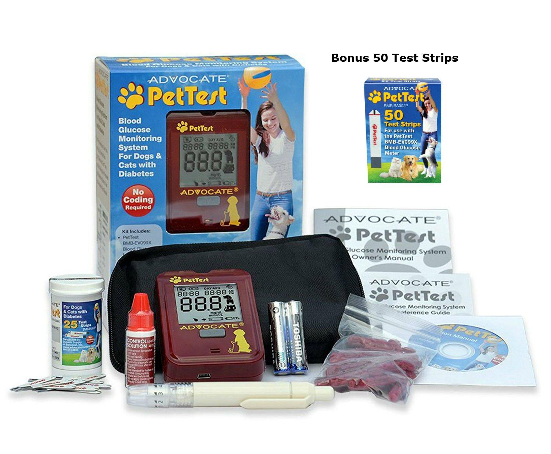 PetTest Advocate Monitoring Glucose Levels - Diabetes Testing Tools - Calibrated for Pets - Bonus eOutletDeals Pet Towel (Starter Kit + 50 Test Strips)