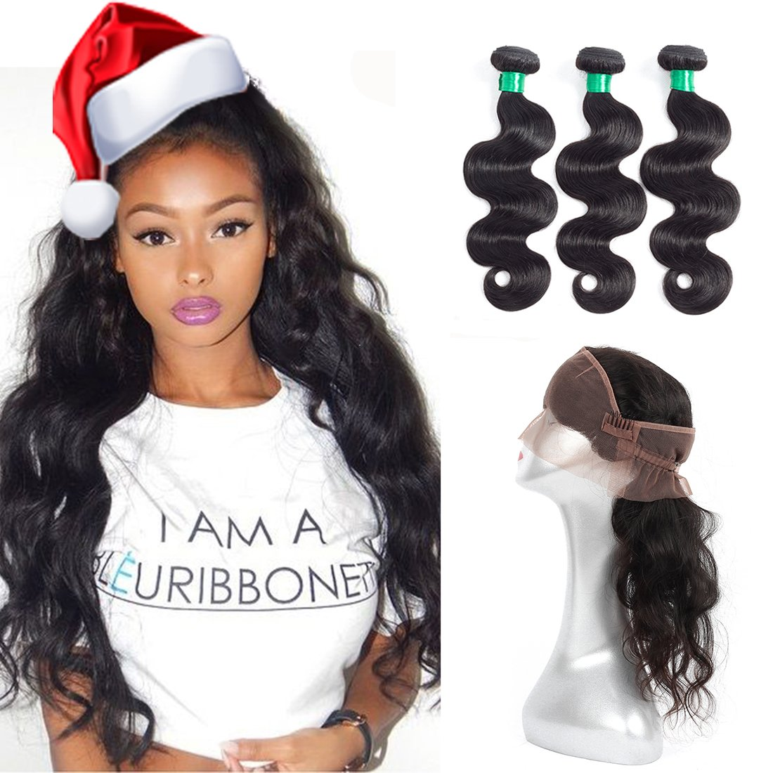 MQYQ 360 Lace Frontal Closure with Bundle Brazilian Body Wave Hair Weave Pre Plucked 360 Frontal with Human Hair 3 Bundles (14 16 18+14 inch)