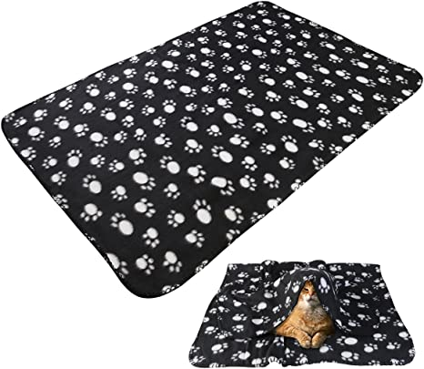 UEETEK Pet Blanket for Dog Cat,Double-Sided Paw Print Fleece Blankets Sleeping Mat Bed for Dogs Cats Kitten Puppy,Rose,60 x 70CM LW