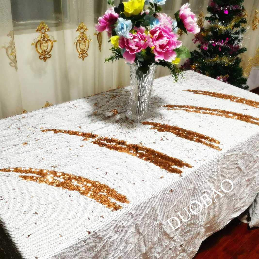 DUOBAO 72x108-InchRectangleSequinTableclothWhite to Rose Gold Mermaid Sequin Table Cover Glitter Table Cloths for Wedding/Party/Kitchen decorations-0612H