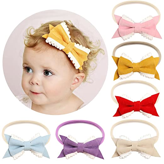 Amazon.com  Elesa Miracle Baby Girl Hair Accessories Headband Kids Nylon  Elastic Leather Bow Headband in Gift Box (6pc- Lace Bow)  Baby ce93c1501a2