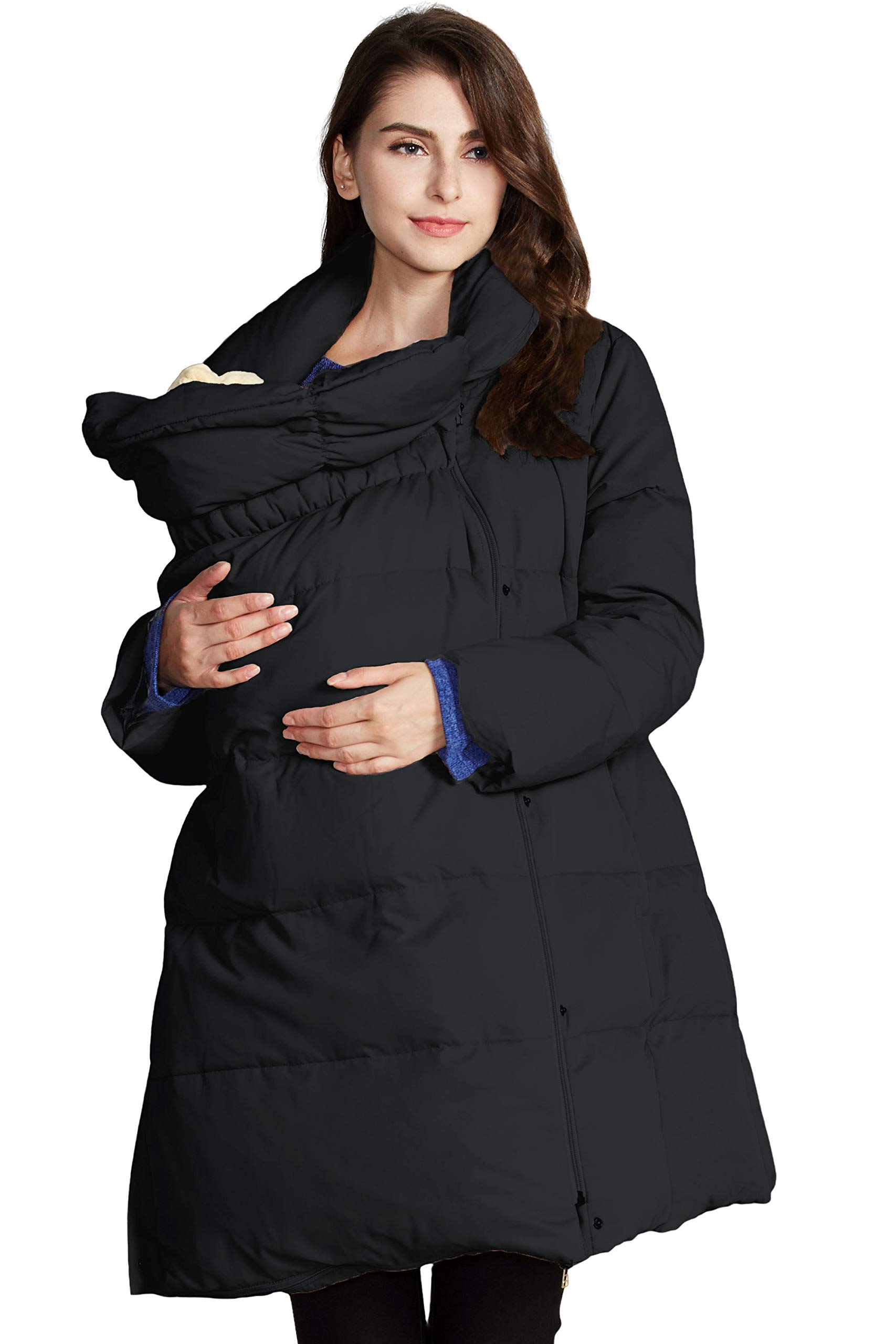 Sweet Mommy Maternity Pregnancy Baby Carrier Babywearing Down Coat Removable Panel Black, L by Sweet Mommy