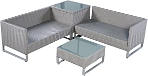 Pongwit 4PC-Outdoor-Gray-Rattan-Patio-Sofa-Couch-Table-Cushion-Furniture-Set-Storage-Box