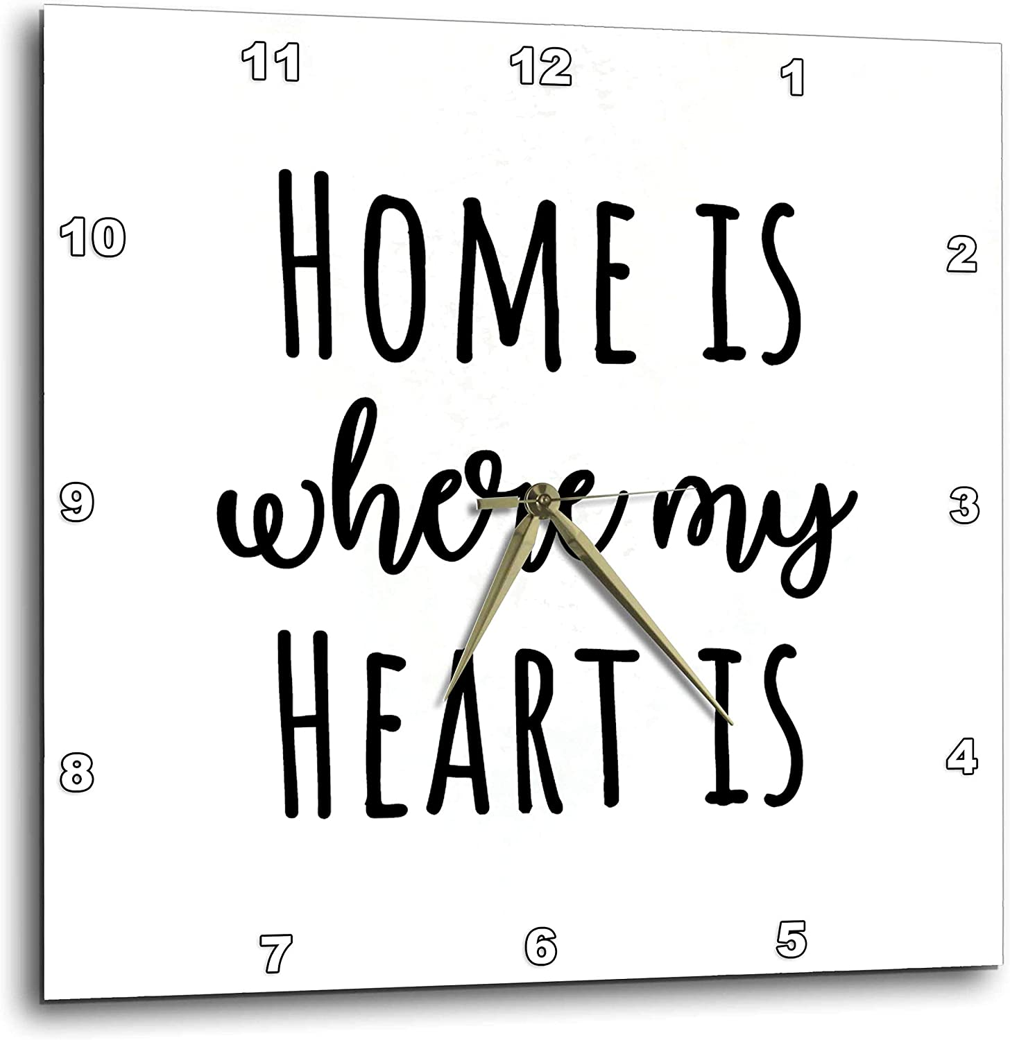 3dRose Stamp City - Typography - Home is Where My Heart is. Black Lettering on White Background. - 13x13 Wall Clock (DPP_325051_2)