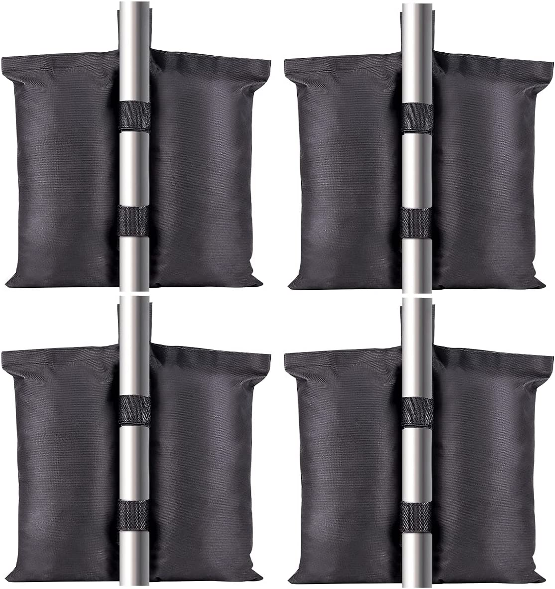 shiningwaner 120LBS Large Size Weight Sand Bags for Pop Up Tent, 4PCS Heavy Duty Canopy Tent Weights, Patio Outdoor Furniture Weights Bags for Umbrella Sun Shelter Pool Ladder, Black