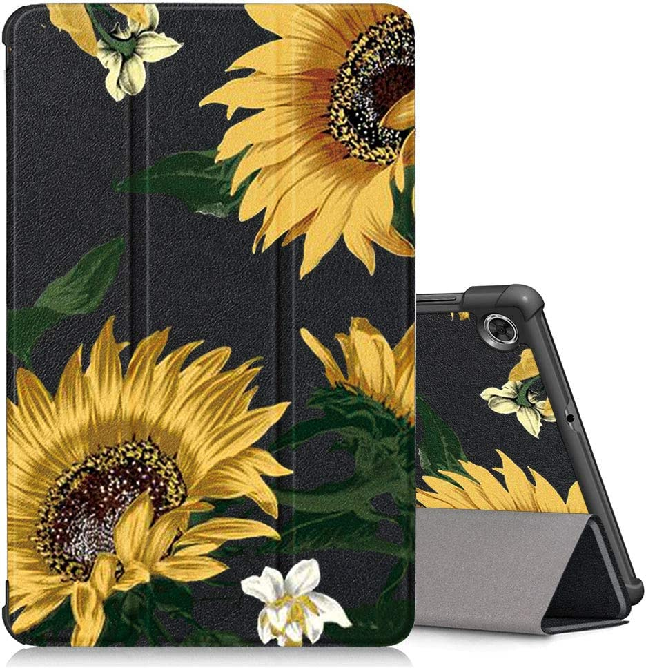 """KAPUCTW Case for Lenovo Tab M10 Plus (TB-X606F/TB-X606X) 10.3"""" Tablet, Leather Slim Lightweight Shockproof Holder Stand Protective Cover Shell with Magnetic Adsorption, Auto Wake/Sleep, Sunflower 2"""