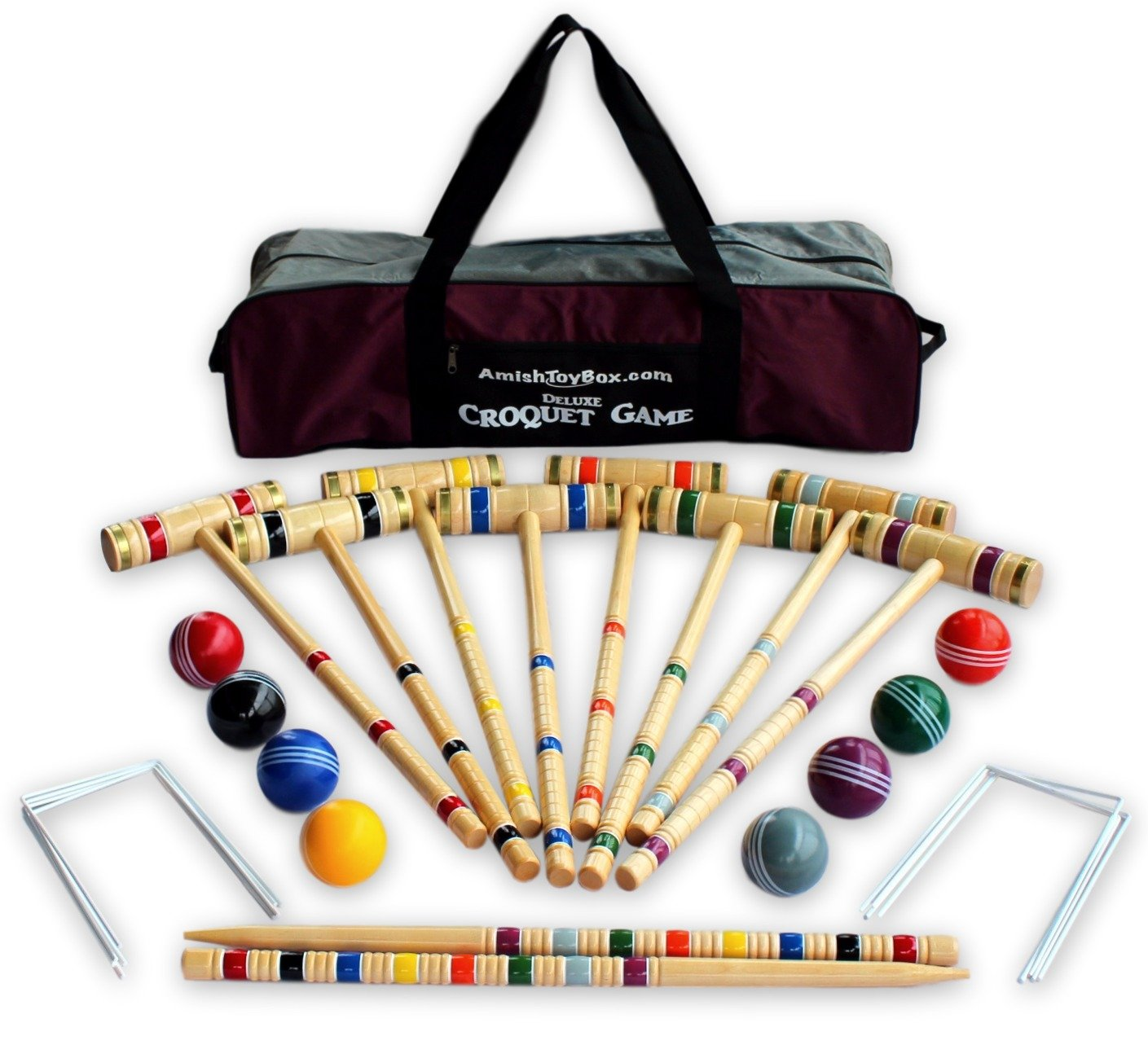 8-Player Deluxe Amish Crafted Croquet Game Set with Carry Bag (33'' Mallet Length)