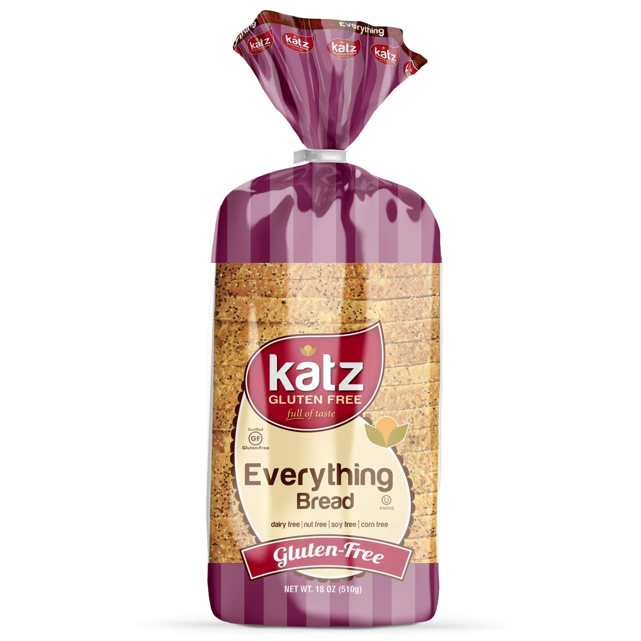 Katz Gluten Free Everything Bread | Dairy, Nut, Soy and Gluten Free | Kosher (6 Packs of 1 Sliced Loaf, 18 Ounce Each) by Katz Gluten Free