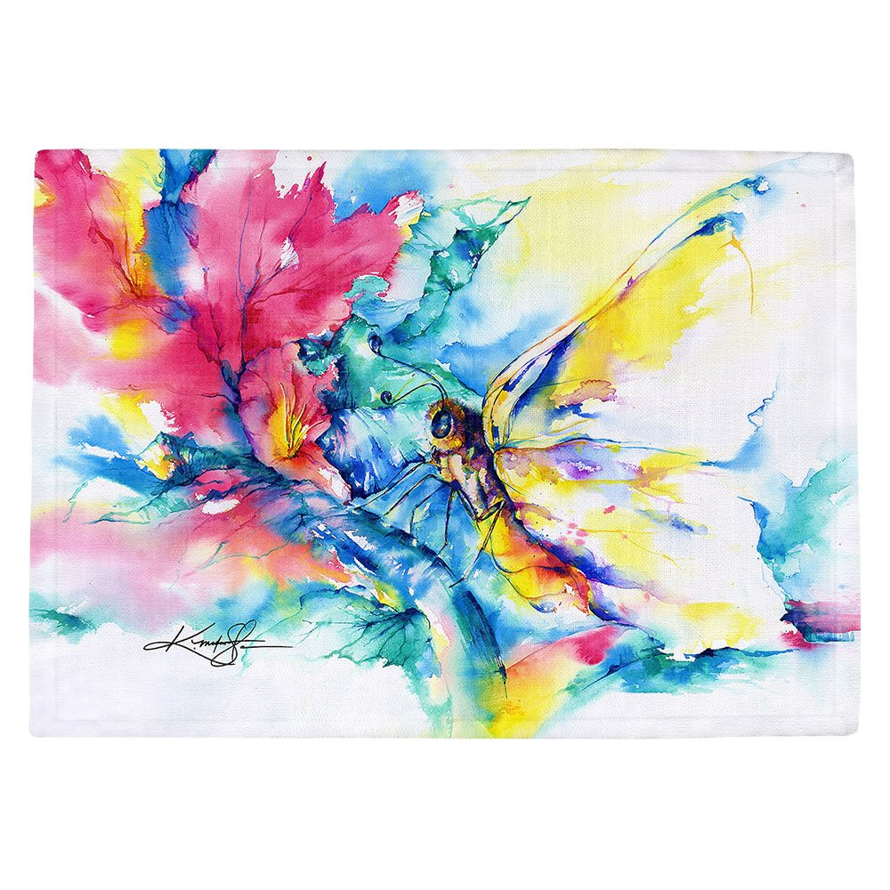 DIANOCHEキッチンPlaceマットby Artist Kathy Stanion – バタフライ Set of 2 Placemats PM-KathyStanionButterfly1 Set of 2 Placemats  B01N3PIRX6