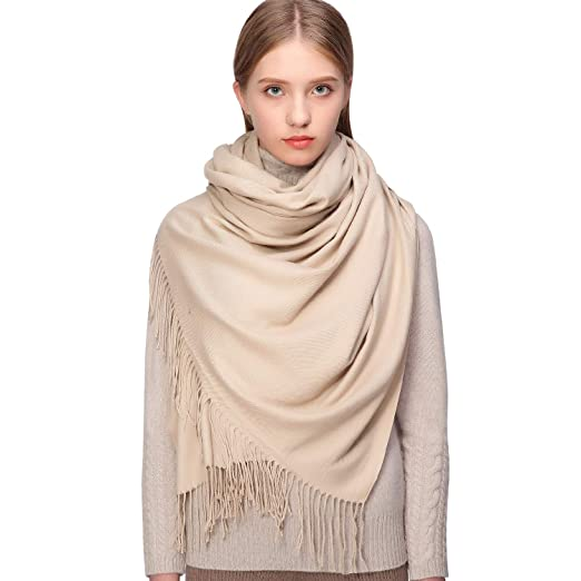 b5ee7024c Cashmere Winter Warm Scarf Pashmina Shawl Wrap for Women and Men Beige Long  Large Soft Scarves