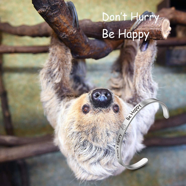 Sloth Bracelet Dont Hurry Be Happy Bracelet Sloth Inspiration Jewelry Sloth Lover Gift CB dont hurry