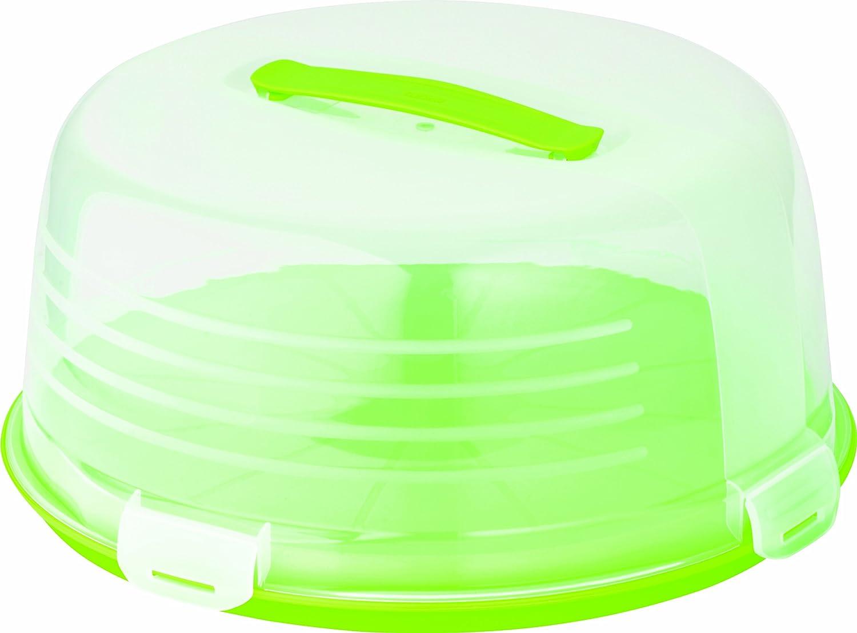Curver Round Cake Box, Transparent/Green 00416-062-00
