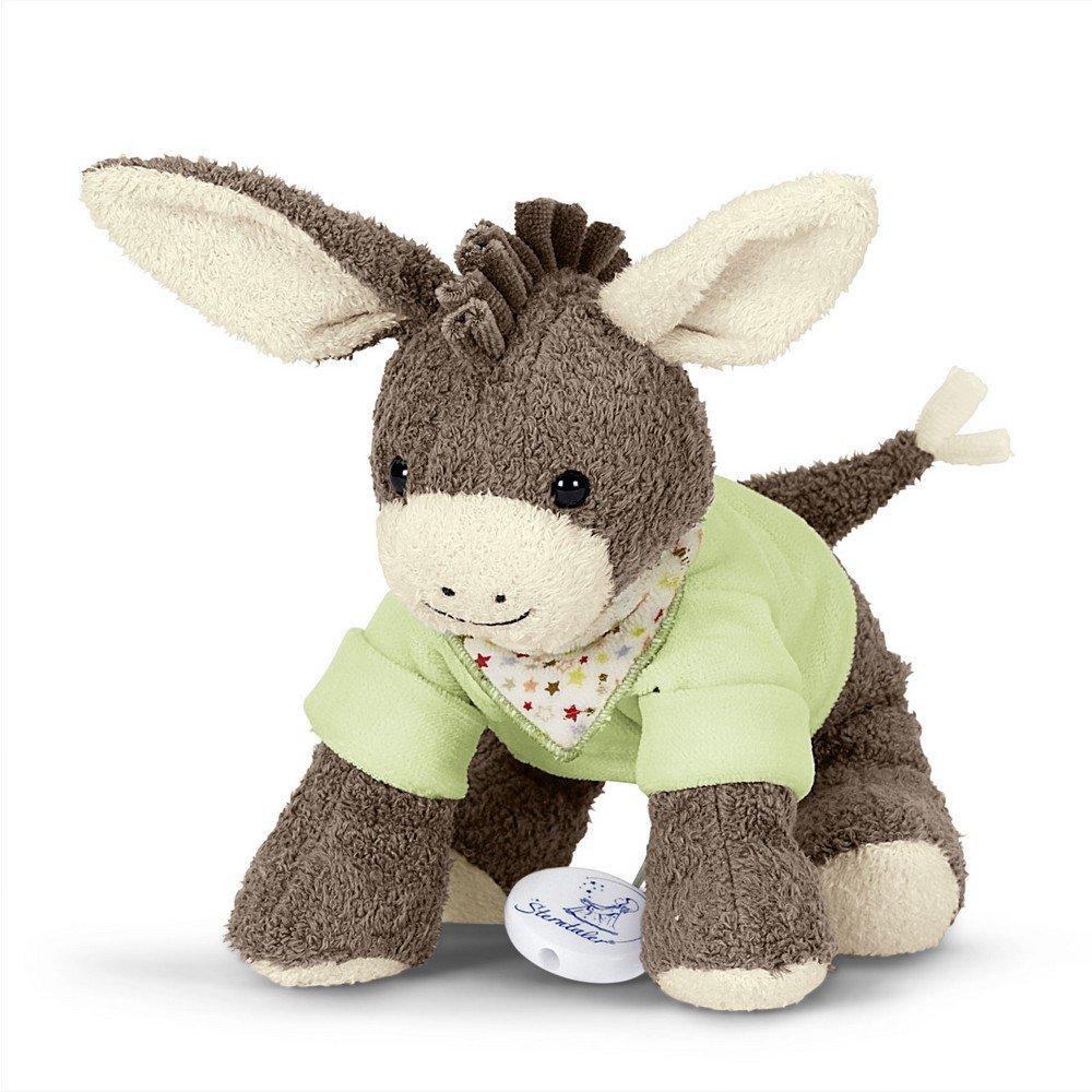 Sterntaler Musical Toy, Plush Donkey Emmi, Interchangeable Music Box, Size: M, Brown/Green 61344