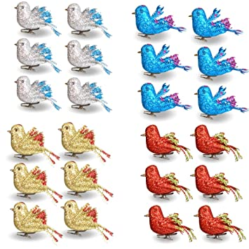 Christmas Bird.Banberry Designs Christmas Bird Ornaments Decorations Set Of 24 Clip On Birds Package Includes 6 Red 6 Blue 6 Gold And 6 Silver Birds
