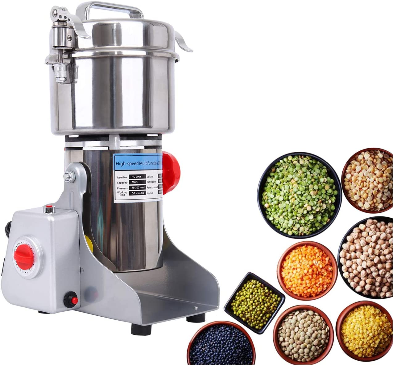 TryE 700g Electric Grain Miller Grinder Powder Machine 70-300 Mesh Stainless Steel Commercial Pulverizer Grinding Machine for Coffee Herb Spice Pepper 110V