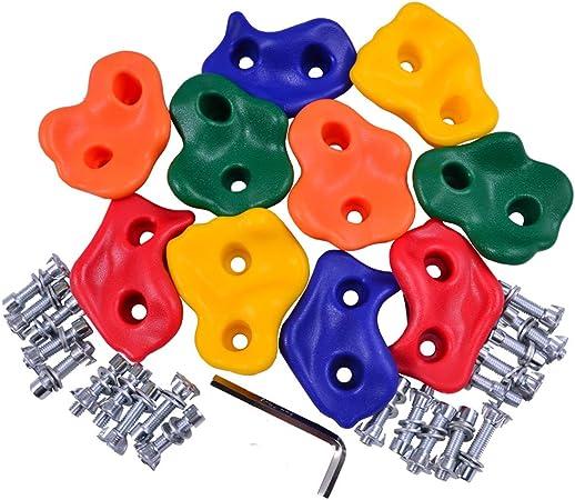 Eggdel Conjunto de 5 Tomas de Escalada/Asas de plástico para 3-7ans niño con Tornillos adecuados 10