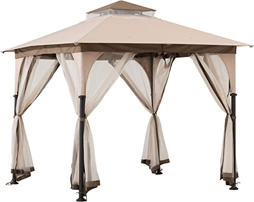Sunjoy A101011100 Shelby 8×8 ft. 2-Tone Steel Gazebo, Tan and Brown