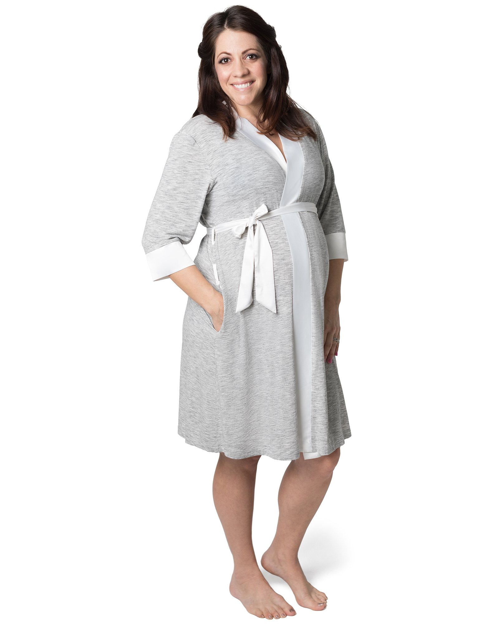Kindred Bravely Emmaline Maternity & Nursing Robe Hospital Bag/Delivery Essential (Grey, Small/Medium)