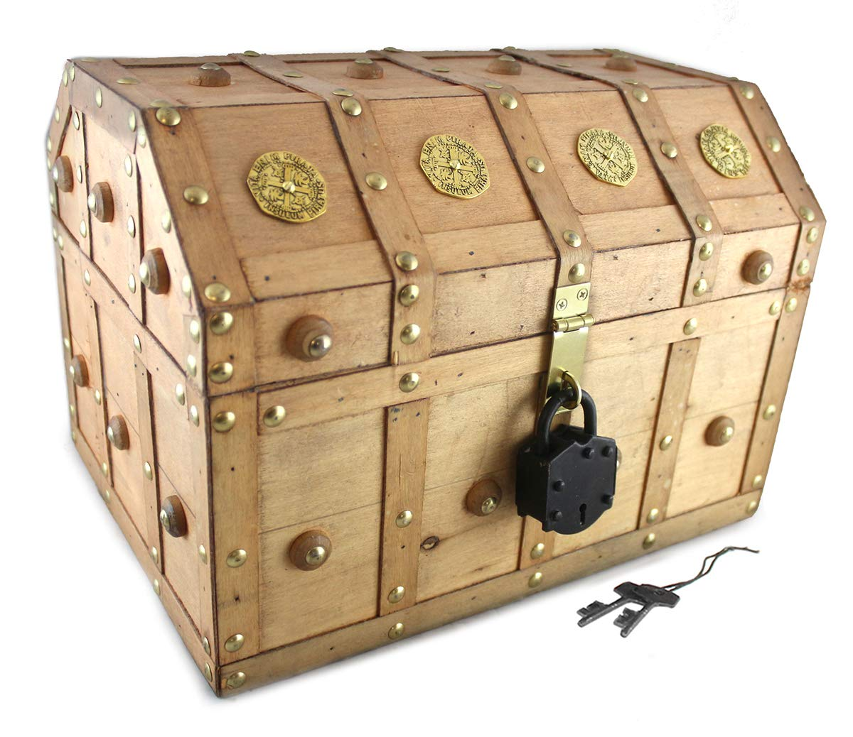 Treasure Chest 13x 9x 9 Pirate Lock Skeleton Keys Gold Doubloon Accents in Natural Stain By Well Pack Box (Large) by Well Pack Box