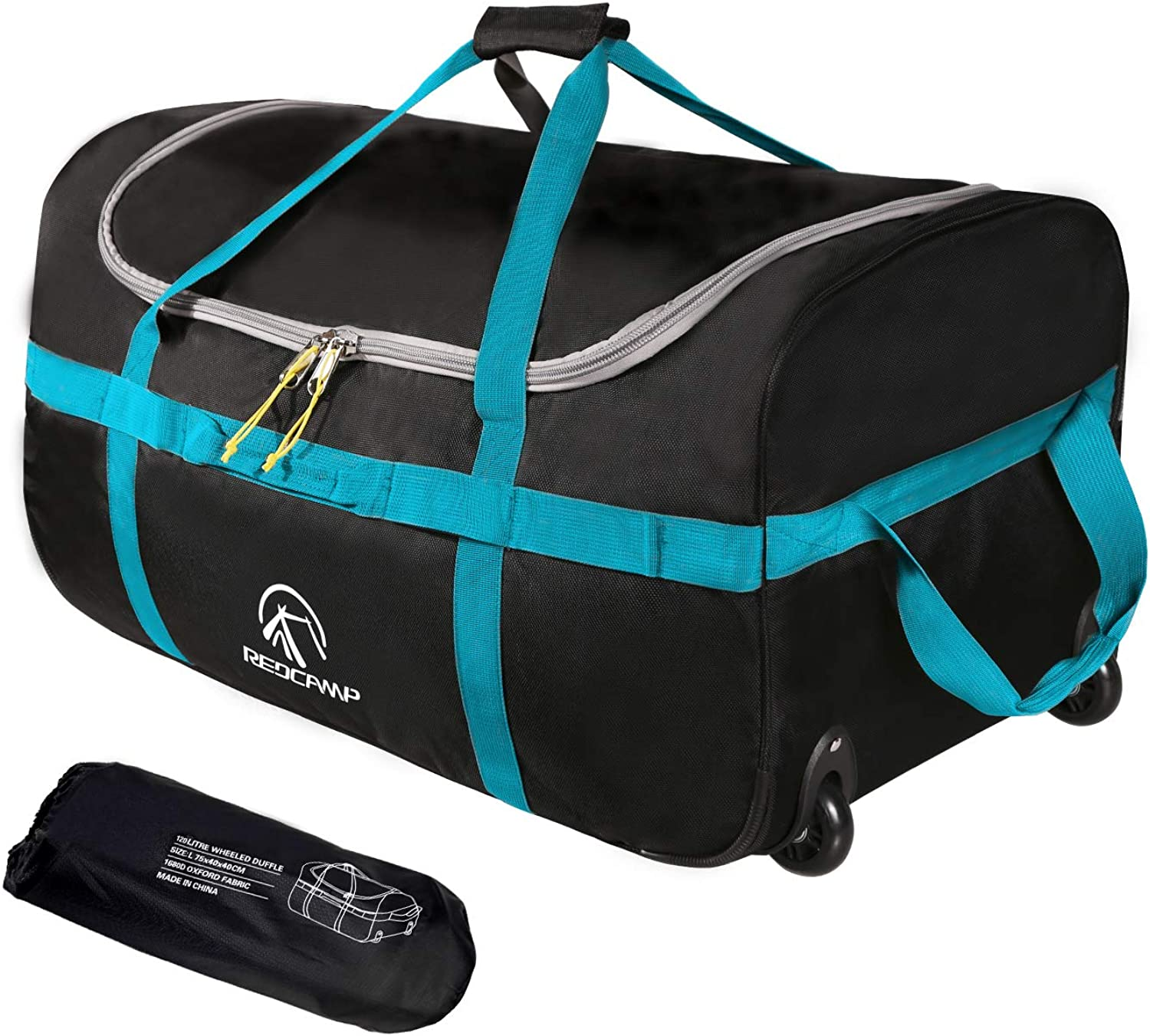 REDCAMP Foldable Duffle Bag with Wheels 85L/120L, 1680D Oxford Collapsible Large Duffel Bag with Rollers for Camping Travel Gear, Black
