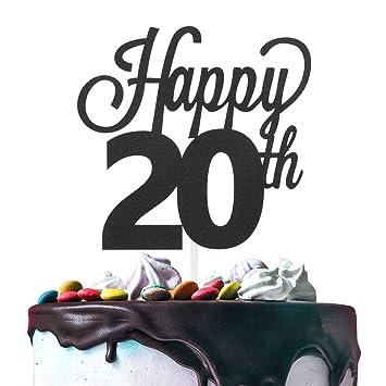 Decoración para tarta de 20 cumpleaños, doble cara, papel de ...